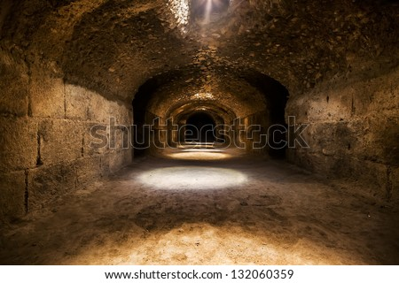 Ruins (dungeons) of the largest colosseum in in North Africa. El Jem,Tunisia. UNESCO - stock photo