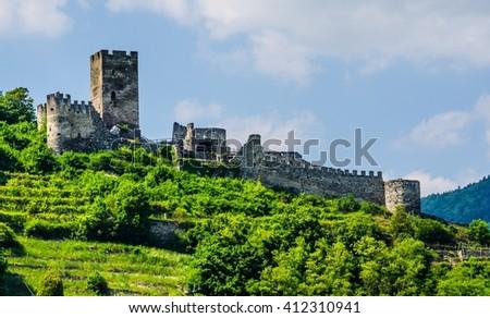 Ruins Hinterhaus Castle. Spitz, Danube river, Wachau Valley - UNESCO World Heritage Site, Lower Austria - stock photo