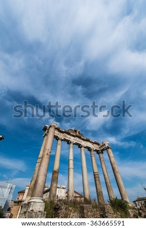 Ruins in ancient Roma on summer day