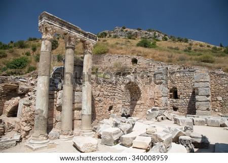 Ruins in Ephesus Ancient City in Izmir, Turkey - stock photo