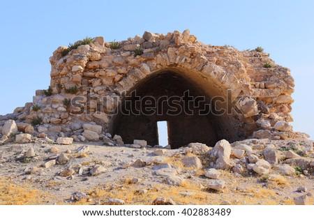 Ruins in Judean desert, Israel. - stock photo