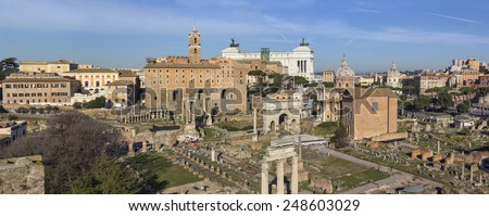 Ruins in northern part of Roman forum in Rome, Italy - stock photo