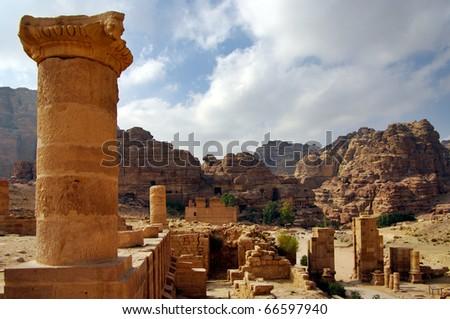 Ruins in Petra, Jordan. - stock photo