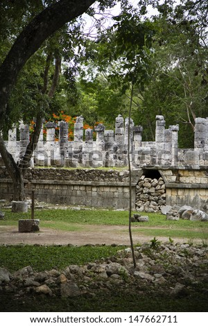 ruins in the jungle, Mexican exploration - stock photo