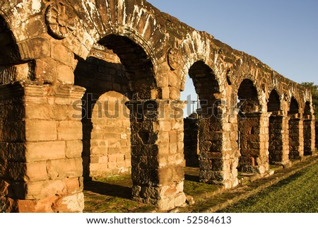 Ruins in Trinidad Jesuit Mission, a Unesco World Heritage site in Paraguay