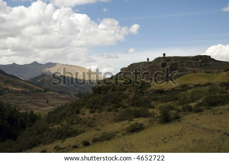 Ruins Landscape Tourists Peru Sacred Valley