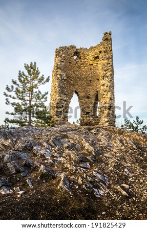 Ruins of a Castle on a Rockface in Gleissenfeld, Austria, Located in Nature Park Seebenstein-Turkensturz.