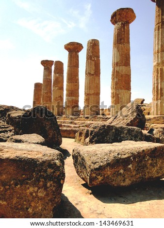 Ruins of a Greek Temple - stock photo