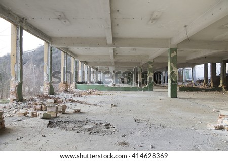 Ruins of a huge empty building - stock photo