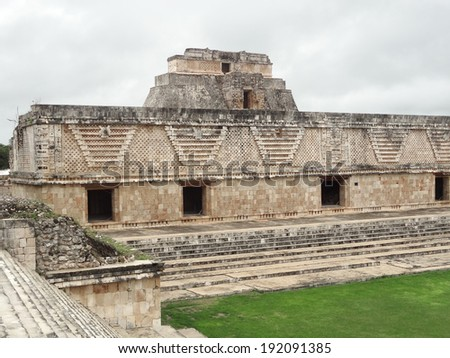 ruins of a mayan temple in Uxmal, Mexico