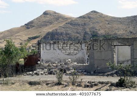 Ruins of Agdam,Nagorno-Karabakh. - stock photo