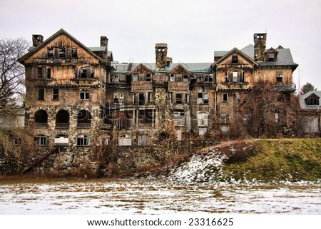 Ruins of an abandoned building in Millbrook, New York. - stock photo