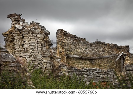 Ruins of an abandoned village in northern Spain - stock photo