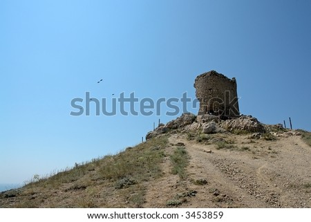 Ruins of an ancient fortress in mountain to Crimea