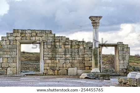 Ruins of an Ancient Greek temple in Chersonese - stock photo