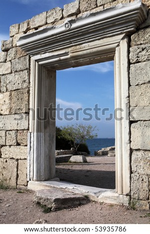 Ruins of an ancient temple in Crimea - stock photo