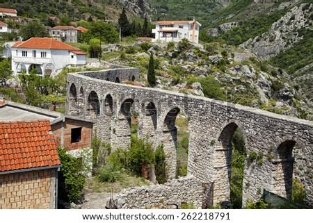 Ruins of an aqueduct in Old Bar (Stary Bar), Montenegro - stock photo