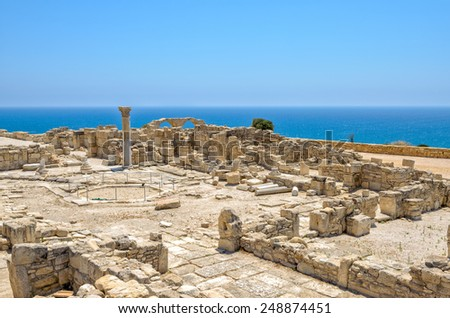 Ruins of an early Christian basilica in ancient town Kourion on Cyprus - stock photo