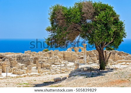 Ruins of an early Christian basilica in ancient town Kourion on Cyprus