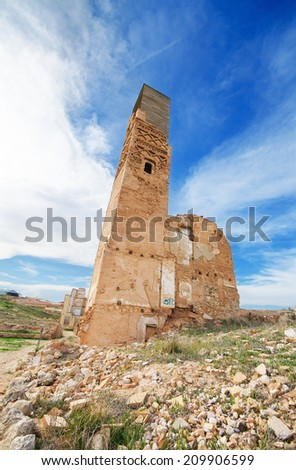 Ruins of an old building destroyed during the spanish civil war in Belchite, Saragossa, Spain. - stock photo