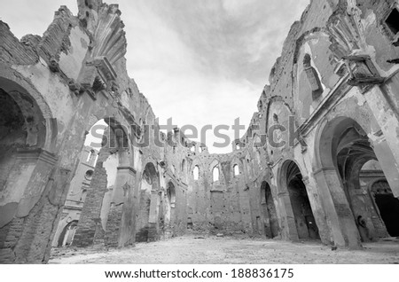 Ruins of an old church destroyed during the spanish civil war, in black and white, in Belchite, Saragossa, Spain. - stock photo