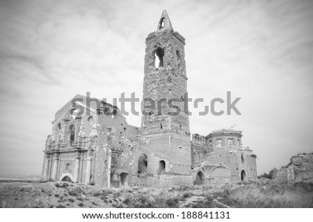 Ruins of an old church destroyed during the spanish civil war, in black and white, in Belchite, Saragossa, Spain.