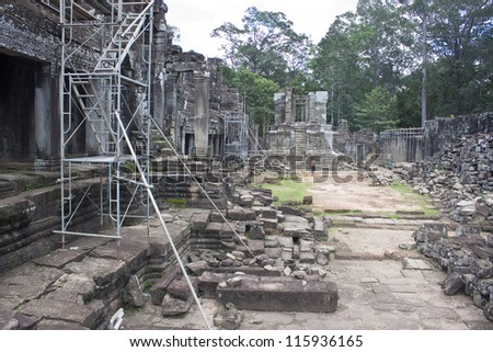 Ruins of ancient Angkor temple Bayon, Cambodia.