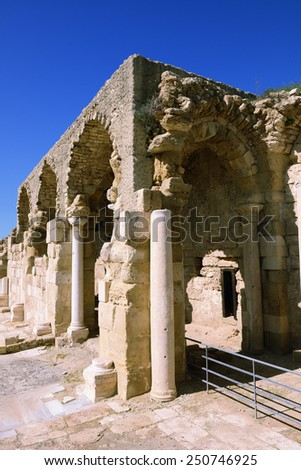ruins of ancient castle near Beit Guvrin, Israel - stock photo
