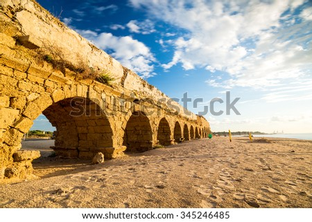 Ruins of ancient Cesarea built by Herod, Israel - stock photo