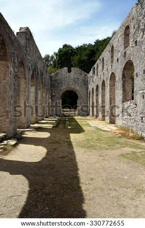 Ruins of ancient city Butrint in Albania - stock photo