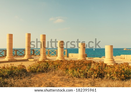 Ruins of ancient city Caesarea in Israel - stock photo