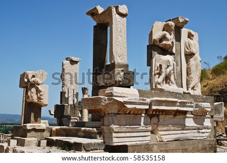 Ruins of ancient city Ephesus in Turkey