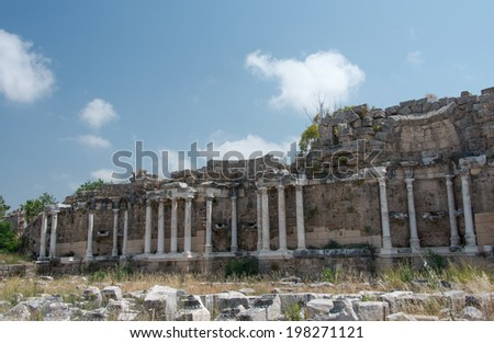Ruins of ancient city in Side, Turkey - stock photo