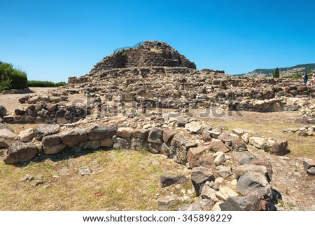 Ruins of ancient city. Nuraghe culture, Sardinia, Italy - stock photo