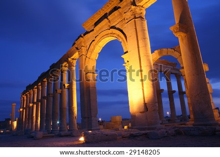 Ruins of ancient city Palmyra (Syria) - stock photo
