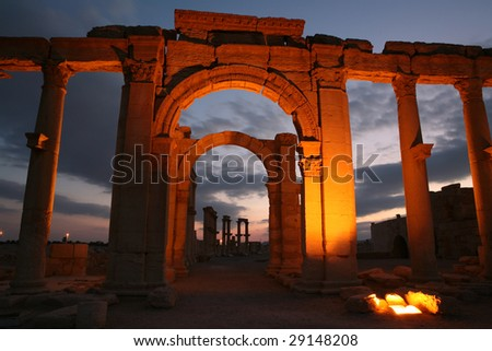 Ruins of ancient city Palmyra. Syria - stock photo