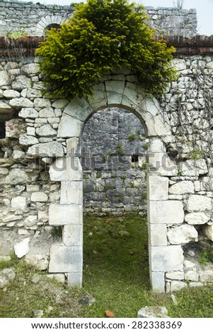 Ruins of ancient fortress remind people of last eras - stock photo