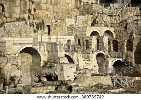 "Ruins of ancient ""Old Jerusalem"" in Jerusalem, Israel - stock photo"
