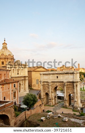 Ruins of ancient Roman Forum at sunset - Rome Italy