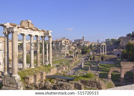 Ruins of ancient Rome preserved and tourists in Italy.