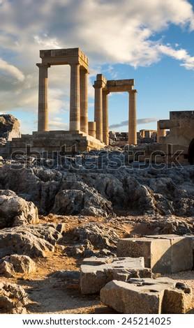 Ruins of ancient  temple in Lindos acropolis, Lindos, Rhodes island, Greece - stock photo