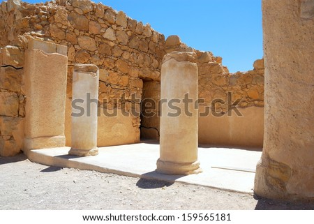 Ruins of ancient temple. Masada, Israel.  - stock photo