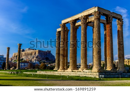 ruins of ancient temple of Zeus, Athens, Greece, HDR photo - stock photo