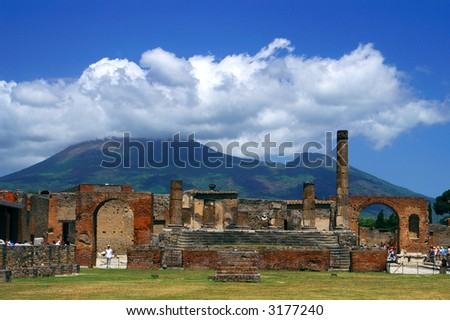 Ruins of ancient town Pompei and volcano Vesuvius, Italy - stock photo