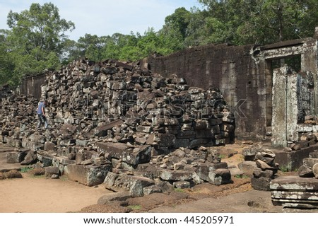 Ruins of Angkor Wat or Khmer temple in Siem Reap, Cambodia.