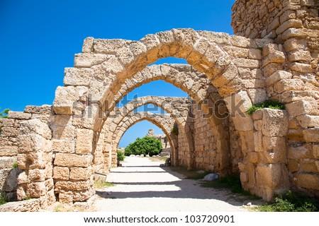 Ruins of antique Caesarea. Israel. - stock photo