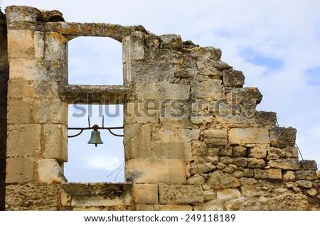 Ruins of antique chapel in Les-Baux-de-Provence village (Provence, France).  - stock photo