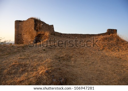 Ruins of Assoro Castle in the summer, Sicily - Italy