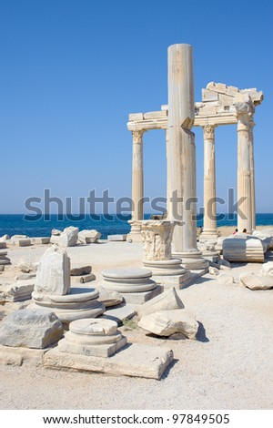 Ruins of Athena temple in Side, Turkey - stock photo