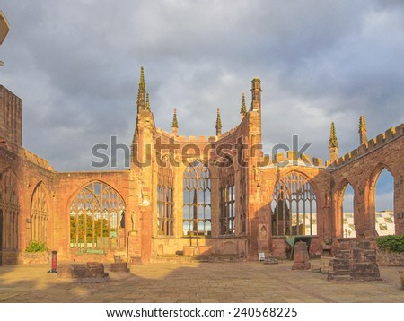 Ruins of bombed St Michael Cathedral, Coventry, England, UK - stock photo